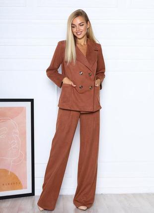 Шикарный замшевый костюм из двубортного блейзера и брюк-палаццо новиночка