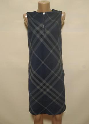 Платье сарафан официальное деловое строгое в клетку синее черное