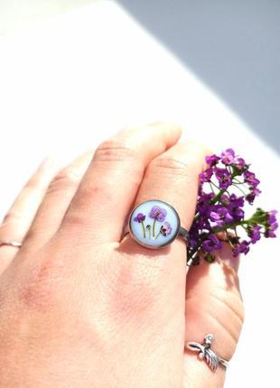 Кольцо с цветами, кольцо из эпоксидной смолы