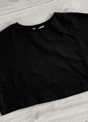 Футболка женская чорная zara теплая чорна базова футболка, теплая футболка.
