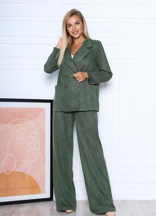 Новиночка замшевый костюм из двубортного блейзера и брюк-палаццо