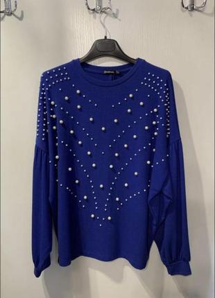 Женский синий свитер stradivarius, размер s, m