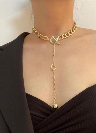 Масивная цепочка цепь на шею с кольцом колье подвеска чокер ланцюжок кулон