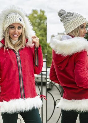 Парка куртка с мехом красная распродажа