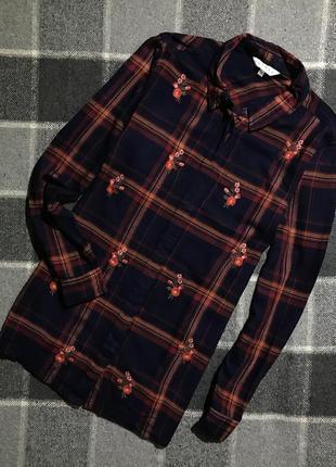 Женская рубашка в клетку с вышивкой nutmeg ( натмэг мрр идеал оригинал разноцветная)