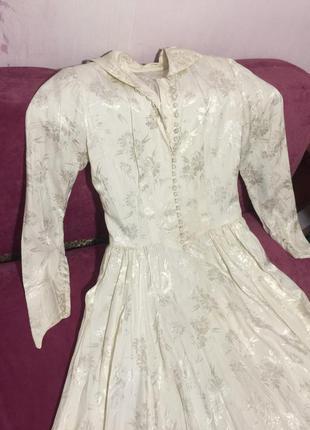 Винтажное платье винтаж белое кремовое бежевое слоновая кость вінтаж