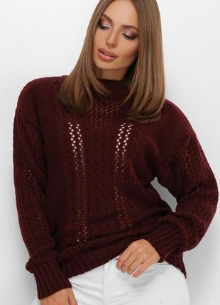 Вязаный свитер марсала 44-50