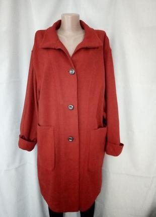 Стильное яркое пальто без подкладки, шерсть/кашемир, оверсайз,  №2gb