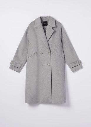 Двубортное пальто шерсть