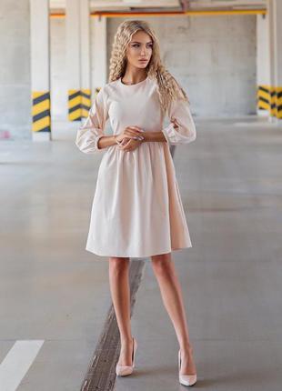 Женское осеннее платье миди мини до колена с воланами фонарик вельвет цвет розовый нежно пудра молочный белый