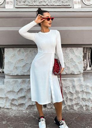 Платье миди в рубчик с пуговицами