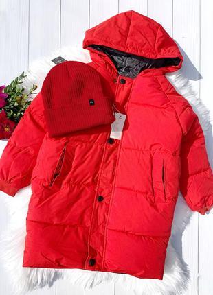 Тёплая куртка пуховик для мальчиков и девочек