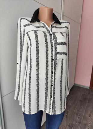 Рубашка блуза белая с черным узором с нагрудным карманом рукав трансформер прямой крой f&f m