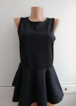 Блуза женская чёрная с баской