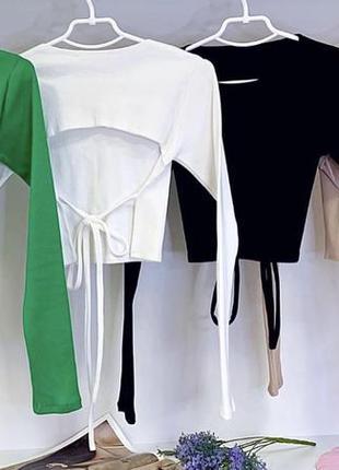Трикотажный топ кофта на завязках в стиле zara