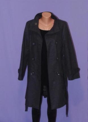 Шикарное двубортное серое пальто 10 размера/45% шерсть atmosphere