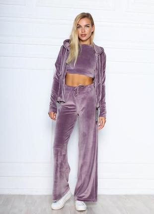 Женский спортивный костюм комплект велюровый топ кофта кофточка с капюшоном худи штаны палаццо килоты клёш широкие фрез бордо розовый