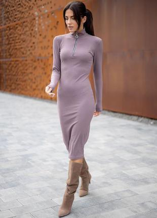 Платье в рубчик с воротником-стойкой на молнии. есть другие расцветки
