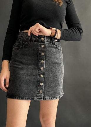 Джинсовая юбка на пуговицах, темно-серый джинс, 34-42 в наличии