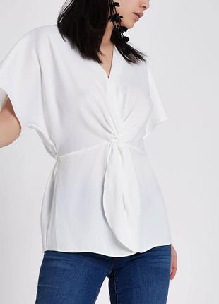 Белая блуза с узлом zara