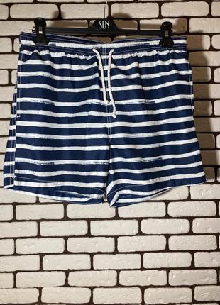 Синие , пляжные шорты в полоску h&m