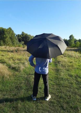 Большой мужской черный зонт, однотонный, антиветер, карбон, на подарок мужчине, подарунок чоловіку, чорний, великий