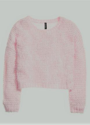 Пушистый розовый свитер травка h&m / большая распродажа!