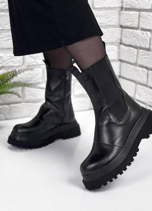 Кожаные демисезонные ботинки на платформе, кожаные ботинки берцы, шкіряні черевики 36-40р код 1637