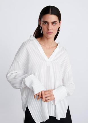 Белая рубашка оверсайз zara