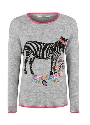 Свободный свитерок зебра вышивка / большая распродажа!