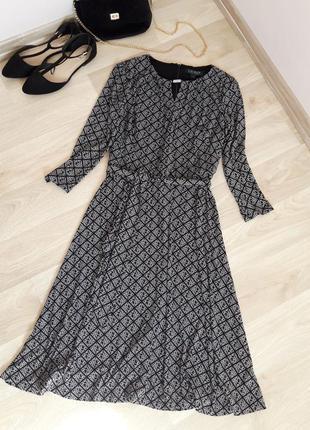 Платье миди с пояском трикотаж осеннее классика zara h&m bershka primark asos next mango