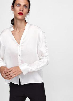 Белая рубашка блуза с воланами рюшами zara