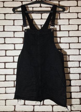 Чёрный , джинсовый комбинезон - платье pull&bear