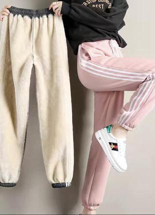 Пудровые спортивные штанишки на меху
