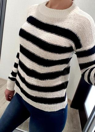 Свитшот свитер паутинка в полоску черный белый s next bershka m&s
