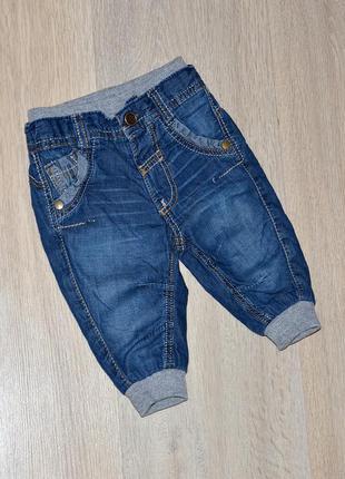 Джинсы george 0-3 мес. на хб подкладке утепленные джогеры теплые джинси штаны штани штанишки штанці брюки хлопковой