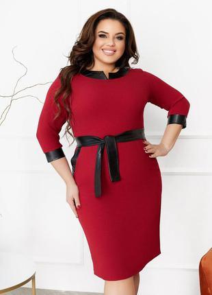 31019  платье осеннее с отделкой из искусственной кожи р-ры 50-56