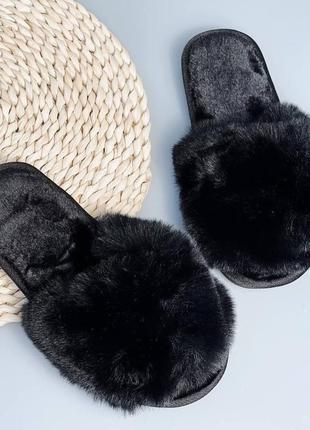 Чёрные тапочки женские меховые комнатные мех экомех