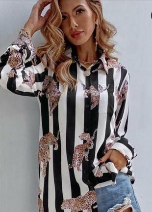 Рубашка в полоску с леопардами, люкс качество, размер м.