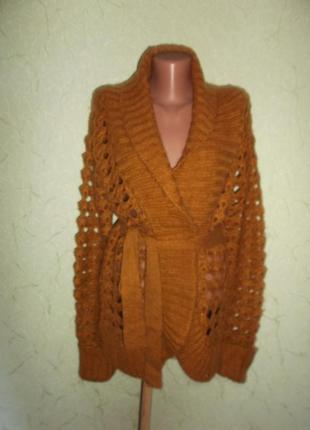 Теплый ажурный пуловер кофта кардиган удлиненный р. xl - dorothy perkins