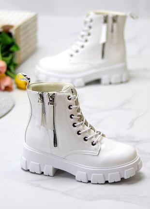 """Ботинки """"lemon"""" женские белый экокожа флис черевики жіночі білий екокожа фліс"""