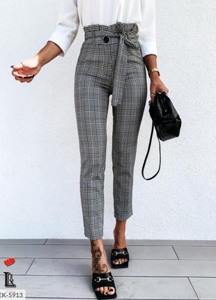 Брюки штаны с высокой талией трикотаж алекс с поясом