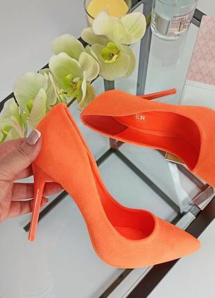 Туфли лодочки оранжевые на шпильке неоновые замшевые замша экозамша
