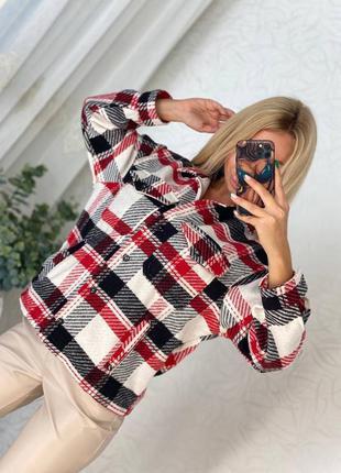Рубашка белая красная чёрная оверсайз в клетку женская кашемировая кашемир