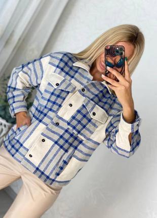 Рубашка в клетку белая синяя голубая женская кашемировая кашемир оверсайз