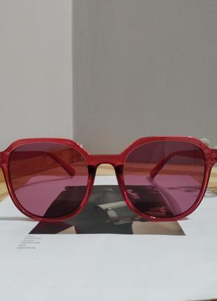 Новые солнцезащитные очки большие розовые красные тренд  окуляри сонцезахисні бордові