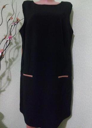 Трикотажное чёрное платье с кожаными вставками