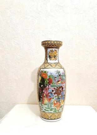 Шикарная ваза напольная фарфор китайский рисунок золотой цветной