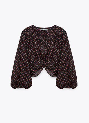 Блуза черная в принт с металлизированной нитью v образный вырез декорирована узлом zara