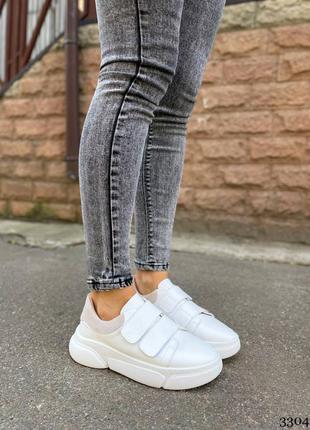 Кожаные кеды кроссовки с задником на липучках